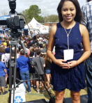 UFNABJ's Zion Magazine political reporter Darling Hill covering the Bernie Sanders rally in Gainesville, Florida.